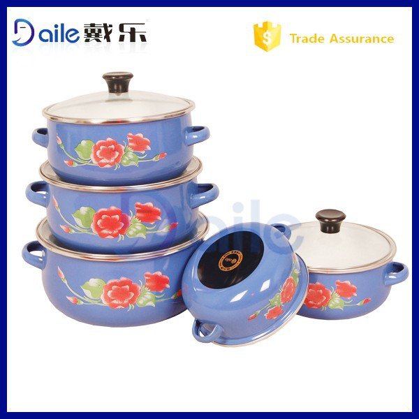 2014 Yiwu Promation Kitchenware Wholesale & Enamel Cookware With Glass Lid Wholesale